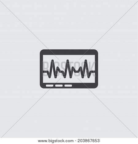 Heart cardio monitor icon in a flat design in black color. Vector illustration eps10