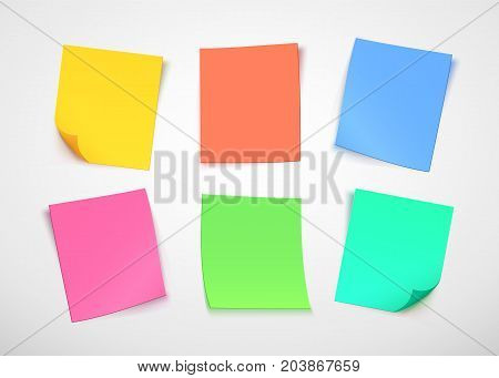 Multicolor paper notes. Post it note. Vector illustration