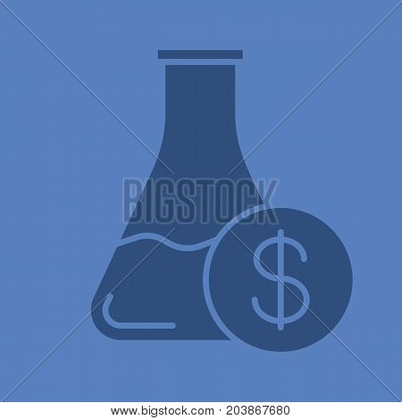 Research price glyph color icon. Silhouette symbol. Chemical lab beaker with dollar sign. Negative space. Vector isolated illustration