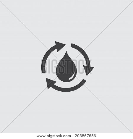 Recycle water drop icon in a flat design in black color. Vector illustration eps10