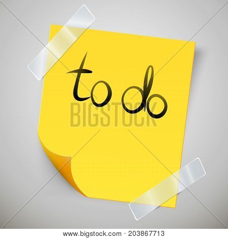 Yellow sticky note with the curled corner and adhesive tape. To do list or memo post. Vector illustration