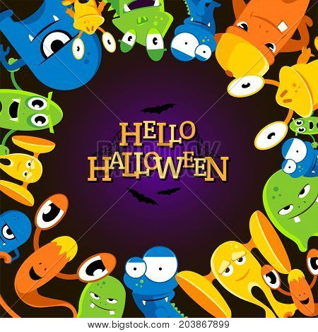 Cute cartoon halloween background with funny monsters. Vector illustration. Colored halloween monster cartoon, character creature face mutant