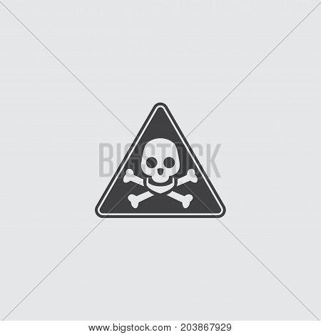 Danger sign icon in a flat design in black color. Vector illustration eps10