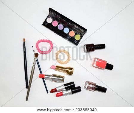 lux cosmetics set on the white background