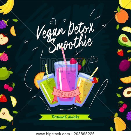 Smoothies time. Vector illustration with different smoothies and fruits on black background. Smoothie detox vegan, fresh and cold beverage