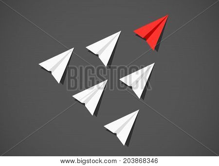Red paper airplane as a leader among white airplanes. Leadership, teamwork, motivation concept. Vector illustration