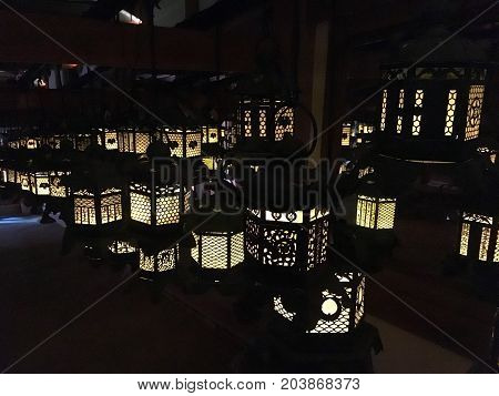 Lanterns in Kasuga Taisha shinto shrine in Nara Japan