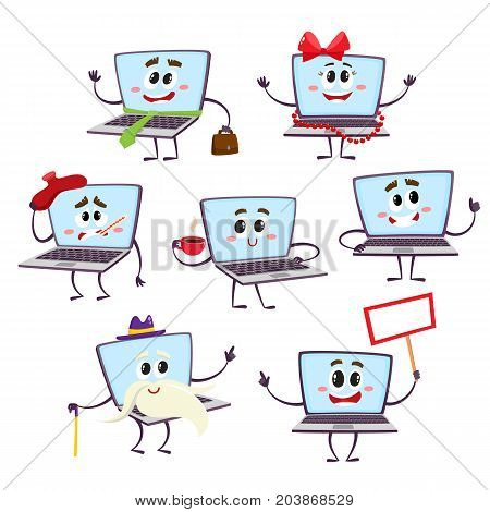 Set of various funny cartoon laptop computer characters - happy, old, sick, vector illustration isolated on white background. Cartoon set of laptop computer characters with human faces