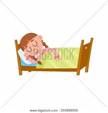vector flat cartoon girl kid sleeping in her bed under warm blanket. Isolated illustration on a white background. Happy child character, daily routine concept.