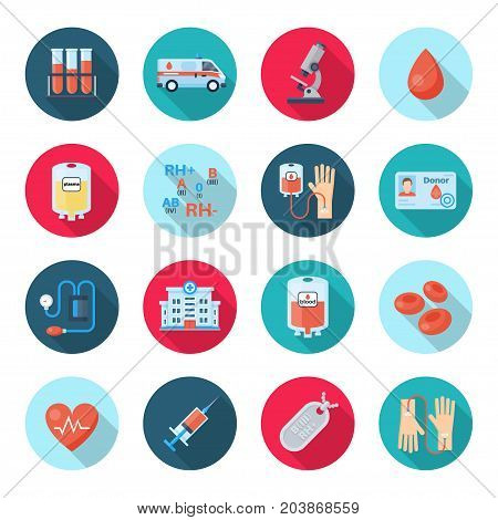 Blood donation icon set. Plasma or platelet appointment, lifesaving service, promoting voluntary help poster. Vector flat style illustration isolated on white background
