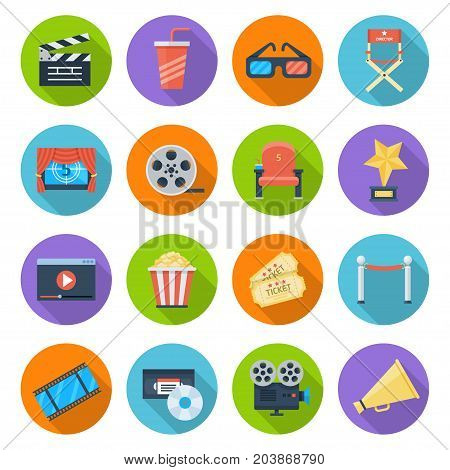 Movie icon set. Film industry, motion picture entertainment, filmmaking and fun images. Vector flat style illustration isolated on white background