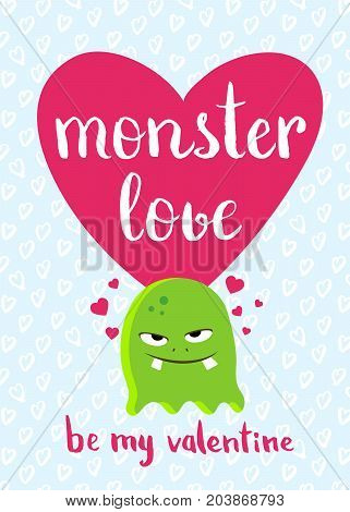 Vector Valentines Day card with heart, cute monster and lettering on hearts background. Love monster with red heart, romantic illustration