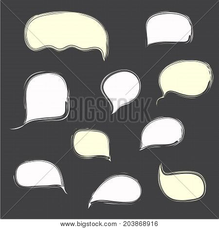 White hand drawn isolated bubble speech on dark background. Text clouds for messengers communication infographics web dialog design