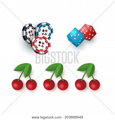 Set of casino symbols - slot machine jackpot cherry, chips, tokens and dices, vector illustration isolated on white background. Set of gambling, casino symbols - tokens, dices and jackpot cherry