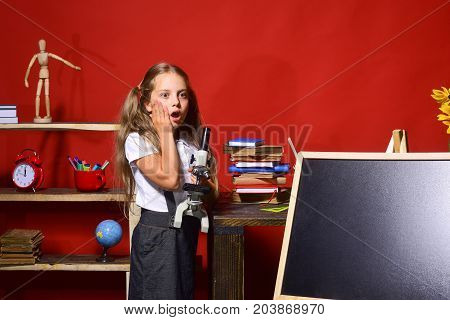 Girl Holds Microscope And Stands By Blackboard, Copy Space