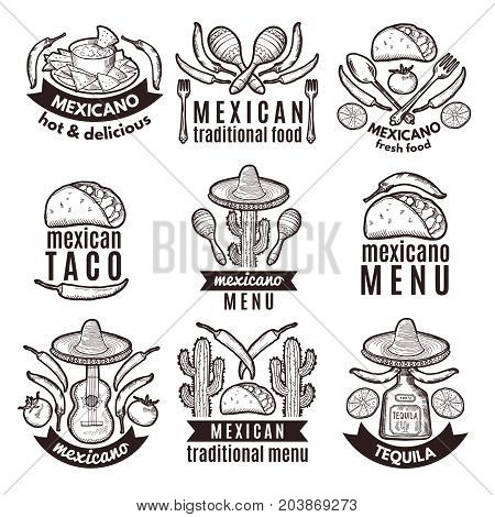 Label set with traditional mexican symbols. Food emblems for restaurant menu mexican food, traditional logo sombrero and cactus. Vector illustration