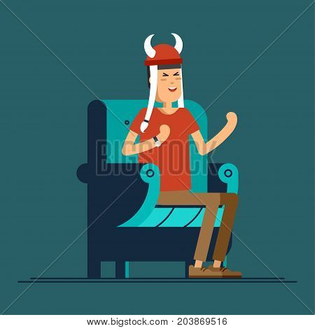 Vector flat illustration people character sport fans watching tv on cozy chair. Man with fan accessories
