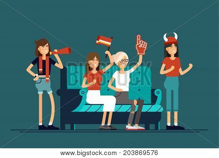 Vector flat illustration people character sport fans watching tv on cozy sofa. Young woman with flags make up and accessories fans