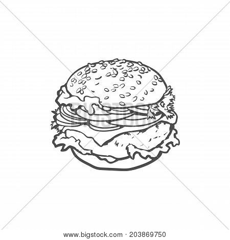 Vector burger sketch hand drawn isolated illustration on a white background. Tasty fresh fastfood chickenburger, cheesburger with vegetables. Sandwich burger with onion lettuce tomato cheese and sauce