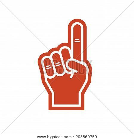 Illustration of a foam finger in red color. Fan hand glover