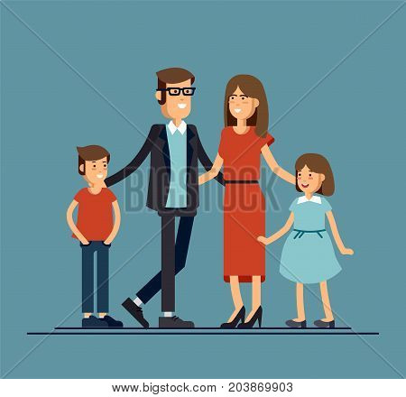 Cool vector flat design family portrait. Family members standing together. Teenage girl, school age boy and standing together. Happy family characters