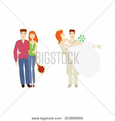 vector flat cartoon adult young couple hugging each other, newlywed couple, groom holds bride in hands. Isolated illustration on a white background. Flat family characters.