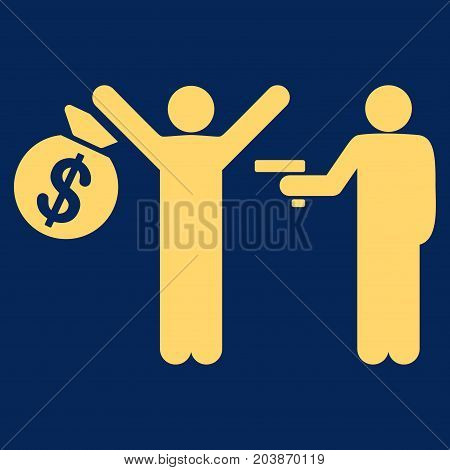 Armed Robbery vector icon. Flat yellow symbol. Pictogram is isolated on a blue background. Designed for web and software interfaces.