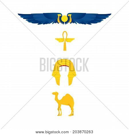 Set of Egypt symbols - winged sun, ankh, nemes headdress, camel, flat cartoon vector illustration isolated on white background. Set of Egyptian symbols - winged sun, ankh, pharaoh headdress and camel