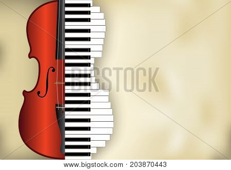 abstract music background from violin and piano keys with place for text vector illustration