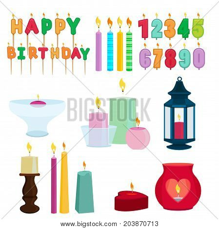 Funny colored candles for birthday party. Cartoon vector set of birthday candle numeral illustration