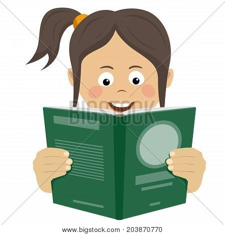 Teenager girl reading an interesting book over white background