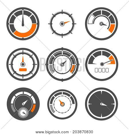 Vector illustrations set of different speedometers. Miles and speed indicators. Speedometer indicator measurement, equipment control speed