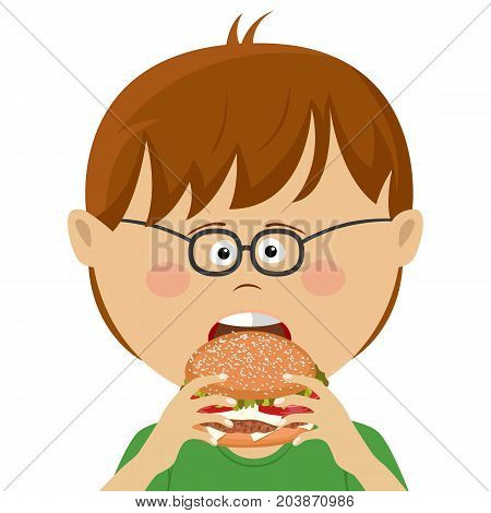 Cute little nerd boy with glasses eats burger over white background