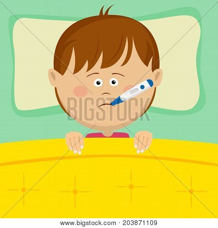 Little sick boy with a thermometer in his mouth lying in bed
