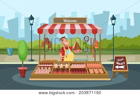 Local market place with fresh foods. Vector illustrations in cartoon style. Butcher shop, store street with assortment meat