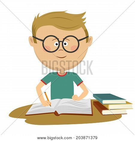 Little nerd boy with glasses doing his homework over white background