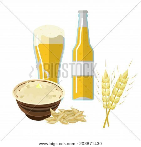 Wheat, barley, oat and rice. Cereals 3d icon vector set