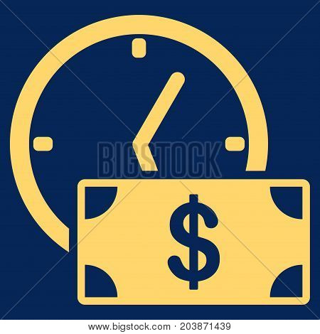 Dollar Credit vector icon. Flat yellow symbol. Pictogram is isolated on a blue background. Designed for web and software interfaces.