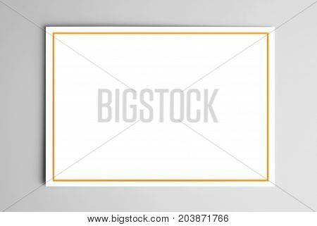 3D illustration of blank card with yellow frame