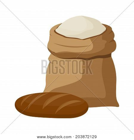 Linen sack full of flour icon. Flat illustration of linen sack full of flour vector icon for web