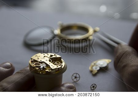 The watchmaker is repairing the mechanical watches gear