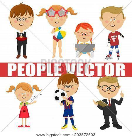 People vector children set. Page boy, roller skater, soccer player, schoolboy, singer, girl with a tablet computer