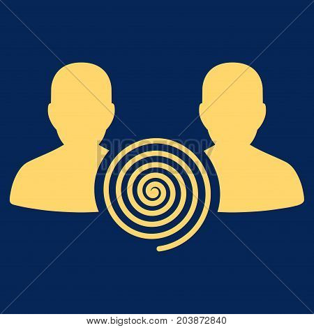 Hypnosis Sect vector icon. Flat yellow symbol. Pictogram is isolated on a blue background. Designed for web and software interfaces.