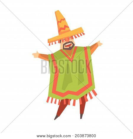 Mexican man singer character cartoon vector Illustration on a white background