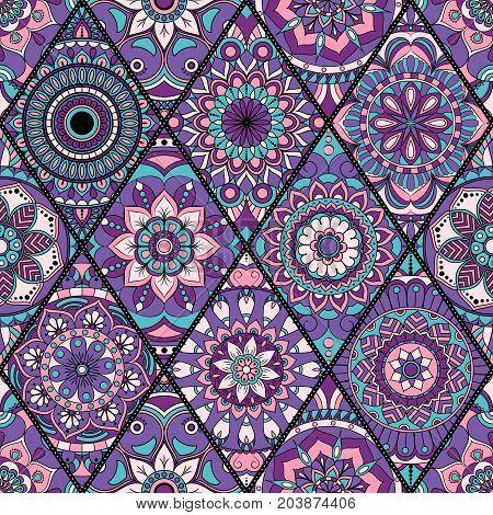 Seamless Pattern. Vintage Decorative Elements. Hand Drawn Background. Islam, Arabic, Indian, Ottoman