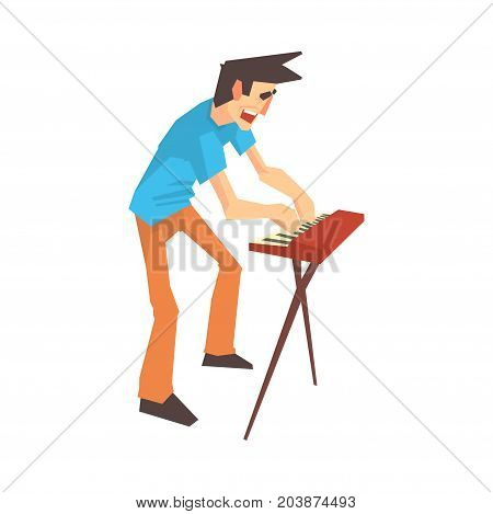 Male pianist of rock band playing keyboard cartoon vector Illustration on a white background