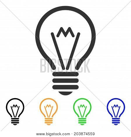 Electric Bulb icon. Vector illustration style is a flat iconic electric bulb symbol with black, gray, green, blue, yellow color variants. Designed for web and software interfaces.