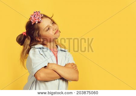 School Girl And Paper Bow For Present Boxes