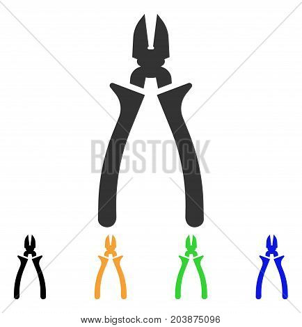 Nippers icon. Vector illustration style is a flat iconic nippers symbol with black, gray, green, blue, yellow color variants. Designed for web and software interfaces.
