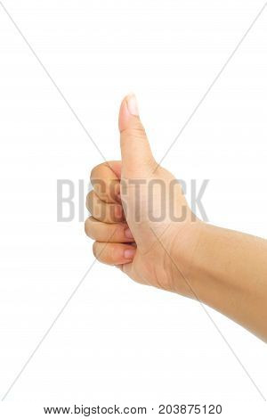 Close Up of Hand Show Thump Up Isolated on White Background.